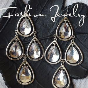 Jewelry - Sparkling Silver 3 Inch Tear Drop Earrings